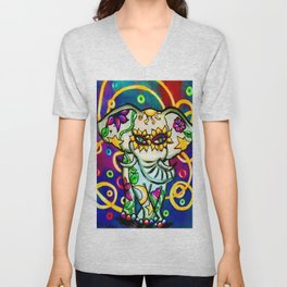 Beautiful White Floral Print Carnival Elephant Unisex V-Neck