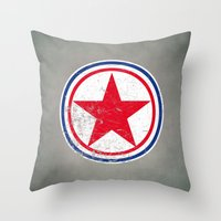 korea Throw Pillows featuring North Korea cocarde by Nxolab
