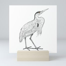 The heron Mini Art Print