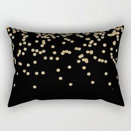 Sparkling gold glitter confetti on black - Luxury design Rectangular Pillow