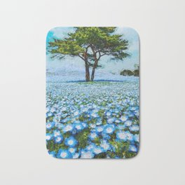 Fields of Blue Poppies floral landscape painting Bath Mat
