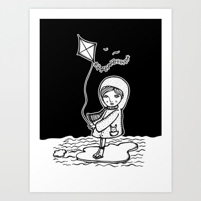 surfing girl on ice floe Art Print