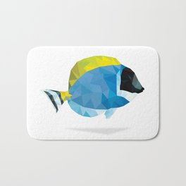 Geometric Abstract Powder Blue Tang Fish Bath Mat