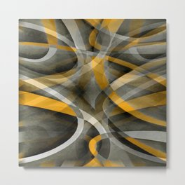 Eighties Retro Mustard Yellow and Grey Abstract Curves Metal Print