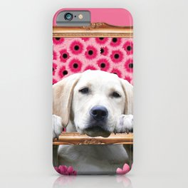 Golden Retriever in Frame with giber Flowers iPhone Case