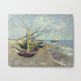Fishing Boats on the Beach by Vincent van Gogh Metal Print
