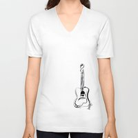 guitar V-neck T-shirts featuring guitar by brittanyhelms