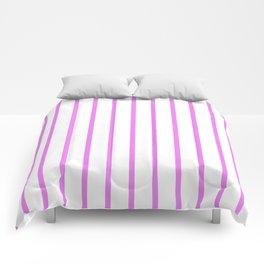 Vertical Lines (Violet/White) Comforters
