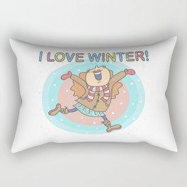 I Love Winter Girl Rectangular Pillow