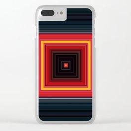 Bright Red Square Design Clear iPhone Case