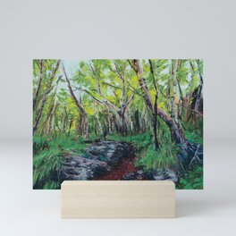 Pastel Painting | Walking path in summer green forest Mini Art Print