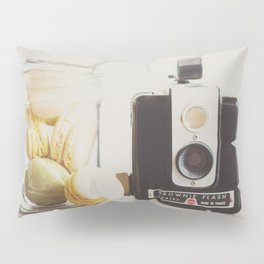 a vintage kodak brownie camera with delicious french macarons Pillow Sham