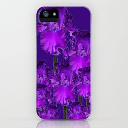 Contemporary Dark Purple Iris Garden Art iPhone Case