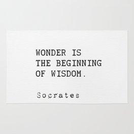 """Wonder is the beginning of wisdom.""  — Socrates Rug"