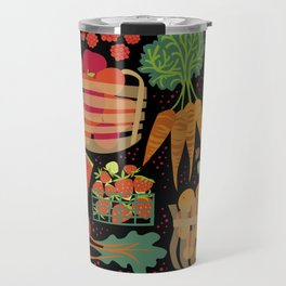 Farmers Market Veggies on Black_Robin Pickens Travel Mug