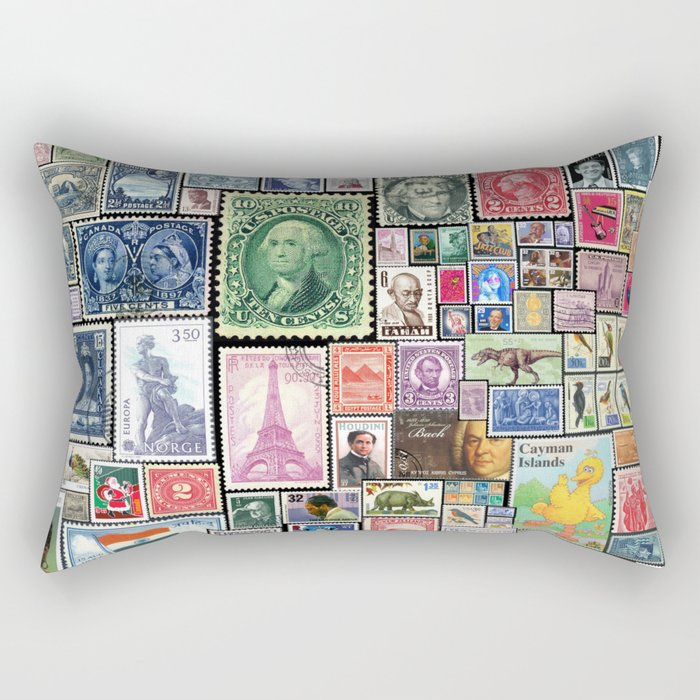 Stamps  |  Collage Rectangular Pillow
