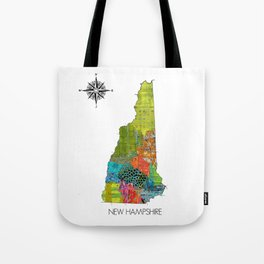 Map of NH Art Collage Tote Bag