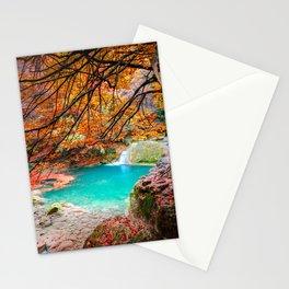 urederra river lake, lago rio urederra en navarra, en el norte de España Stationery Cards