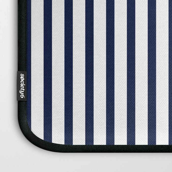 Navy Blue Vertical Stripes Laptop Sleeve