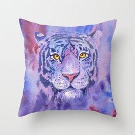 purple tiger Throw Pillow