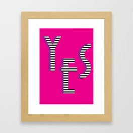 YES Poster | Pink Stripe Pattern Framed Art Print