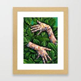 Hands Through Leaves - Brandie Lee - Geometric Shapes - Digital Garden of Eden Framed Art Print