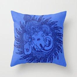 Ganesha Lineart Blue Throw Pillow