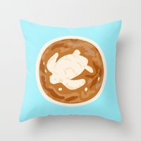 turtle Throw Pillows featuring Turtle by Nancy Smith