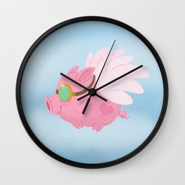 Flying Pink Pig, Left Facing Wall Clock