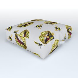 Feline kisses of bees Outdoor Floor Cushion