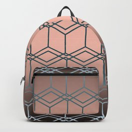 Brown pink geometric pattern Backpack