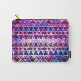 Head In Space | Girly Andes Aztec Pattern Pink Teal Nebula Galaxy Carry-All Pouch