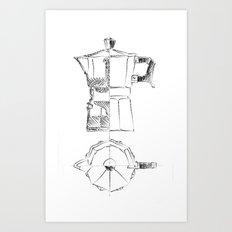 Coffee pot blueprint sketch  Art Print