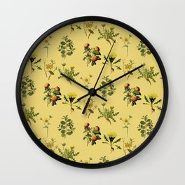 Wild Forest & Field Yellow Flower Herb Pattern Wall Clock