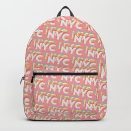 NYC, New York, USA Trendy Rainbow Text Pattern (Pink) Backpack