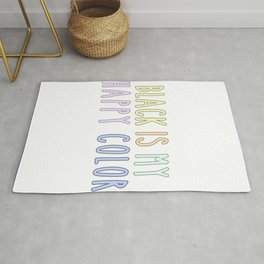 Funny Pastel Goth Gift Aesthetic Black Is My Happy Color Rug