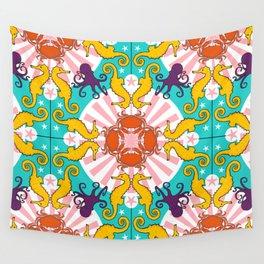 Kaleidoscopic Ocean Animals Wall Tapestry