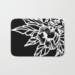 White Linocut Flowery Wreath On Black Bath Mat