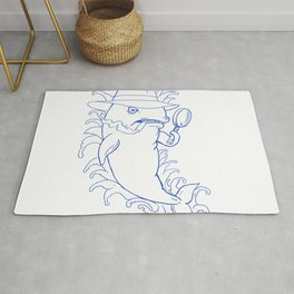 Detective Orca Killer Whale Drawing Rug