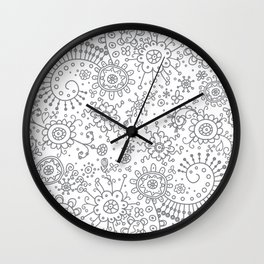 Graphic Ink Doodles (grey) Wall Clock