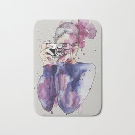 Selfie by carographic Bath Mat