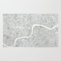 london map Area & Throw Rugs featuring City Map London watercolor map  by Anne E. McGraw