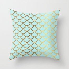 Aqua Teal And Gold Foil MermaidScales - Mermaid Scales Throw Pillow