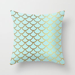 Aqua Teal And Gold Foil MermaidScales - Mermaid Scales Throw Pillow