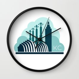 Kansas City in the Clouds - Blue Wall Clock