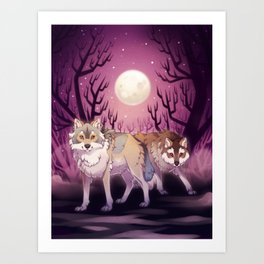 Full Moon - digital drawing of wolves in a forest at night Art Print