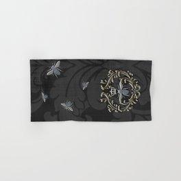 Elegant Black & Gold Damask Bee Hand & Bath Towel