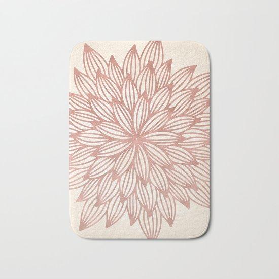 Mandala Flowery Rose Gold on Cream Bath Mat