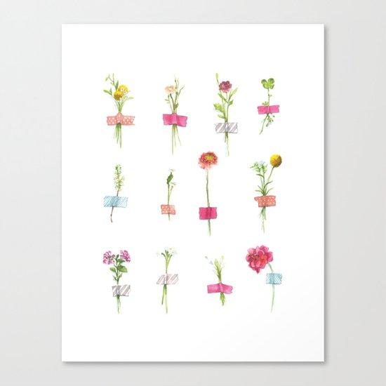 Watercolor Washi Tape Sprigs Canvas Print