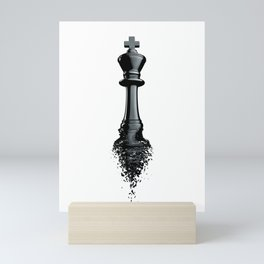 Farewell to the King / 3D render of chess king breaking apart Mini Art Print
